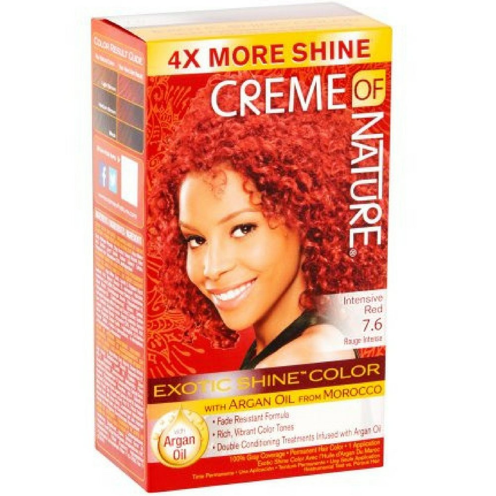 Creme of Nature Exotic Shine Color With Argan Oil, Intensive Red 7.6, 1 ea (Pack of 4)