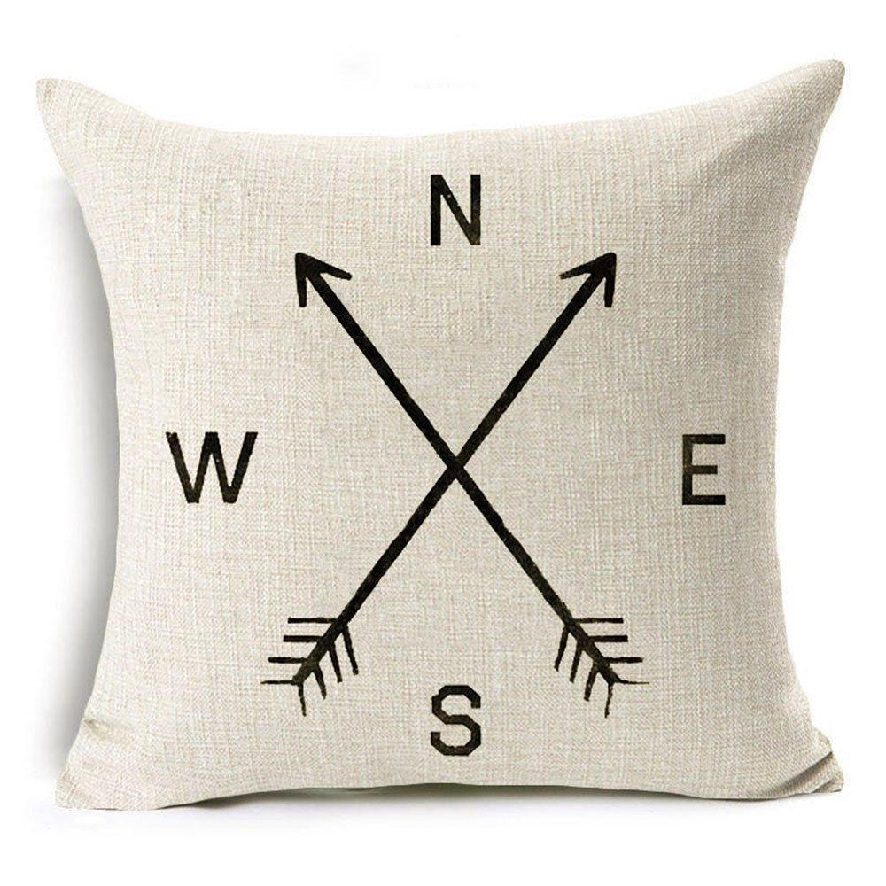 VOGOL 18x18 Inch Cotton Linen Square Throw Pillow Case, Decorative Durable Cushion Cover Home Decor Pillowcase, Arrow Compass North South West East