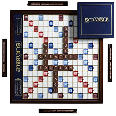 Scrabble Deluxe Edition with Rotating Wooden Game Board: Toys & Games