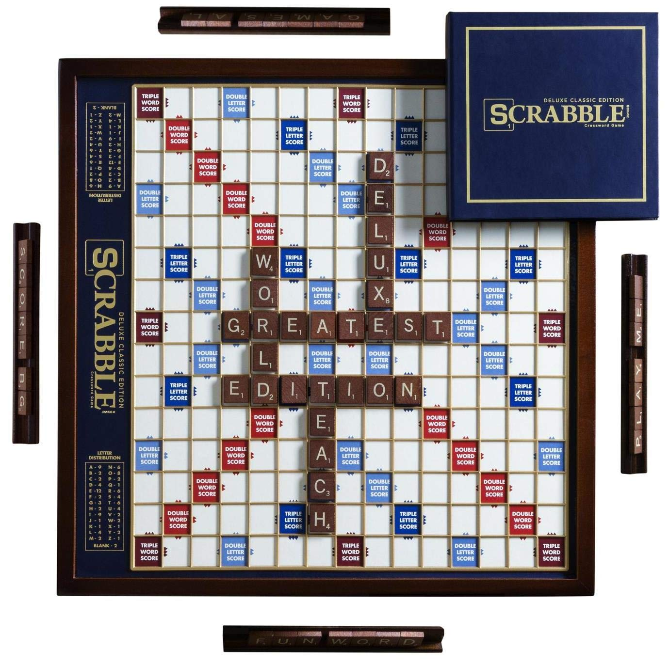 Scrabble Deluxe Edition with Rotating Wooden Game Board by WS Game Company (Image #1)