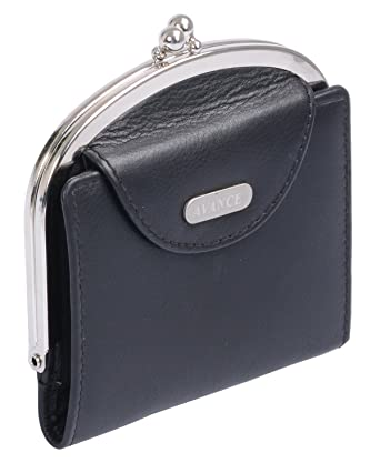 Avanco Womens Leather Snap Purse 4.1 x 3.9 x 0.6 inch Black ...