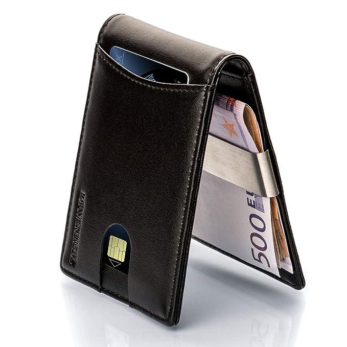 LØWENHERZ Kreditkartenetui Herren - Khan mit RFID Schutz und Geldklammer - Langlebiges Mini Wallet aus Premium Echtleder - 10 Kartenplätze inkl. Easy Access Fach in Schwarz