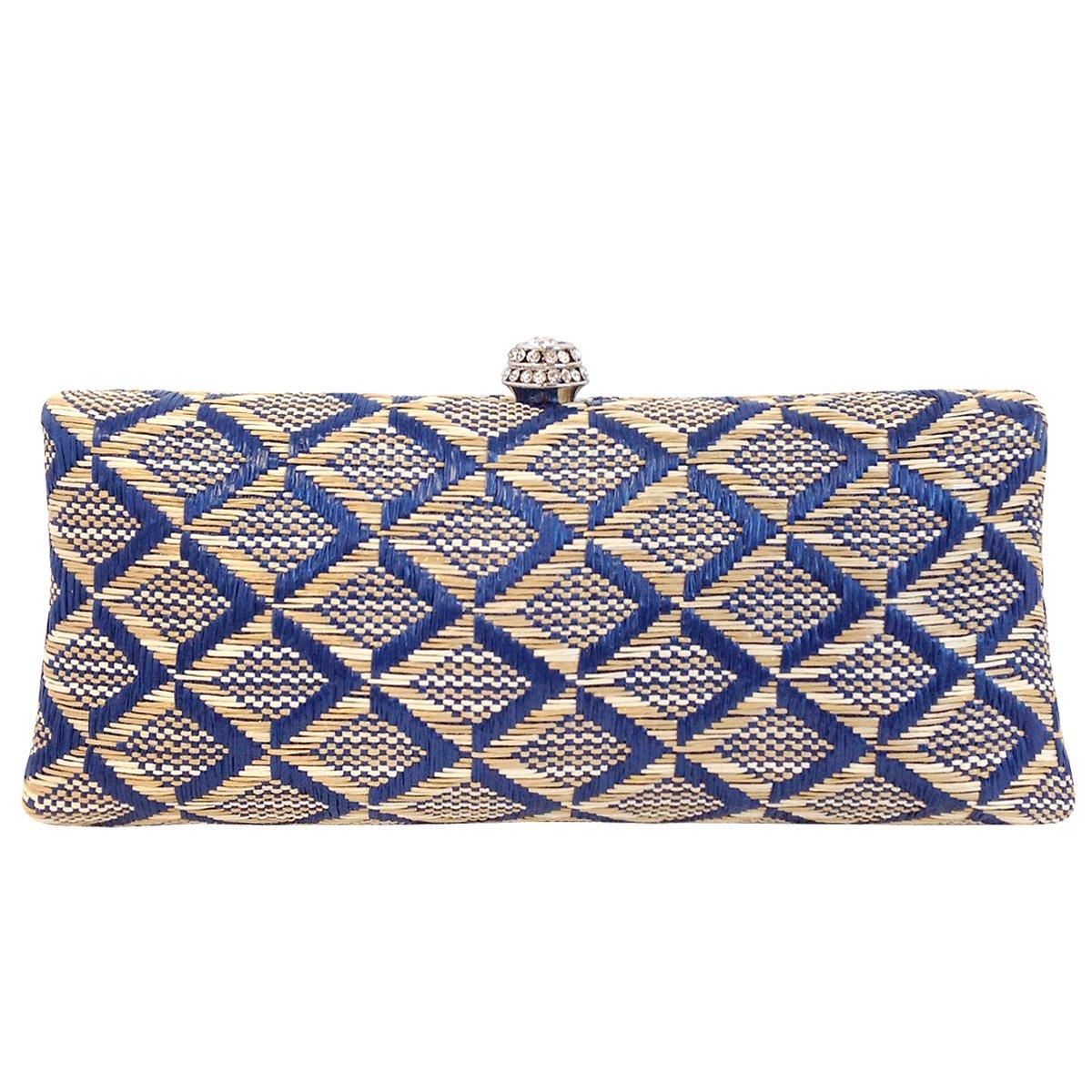 Geometric Patterned Raffia Straw Box Clutch, Blue