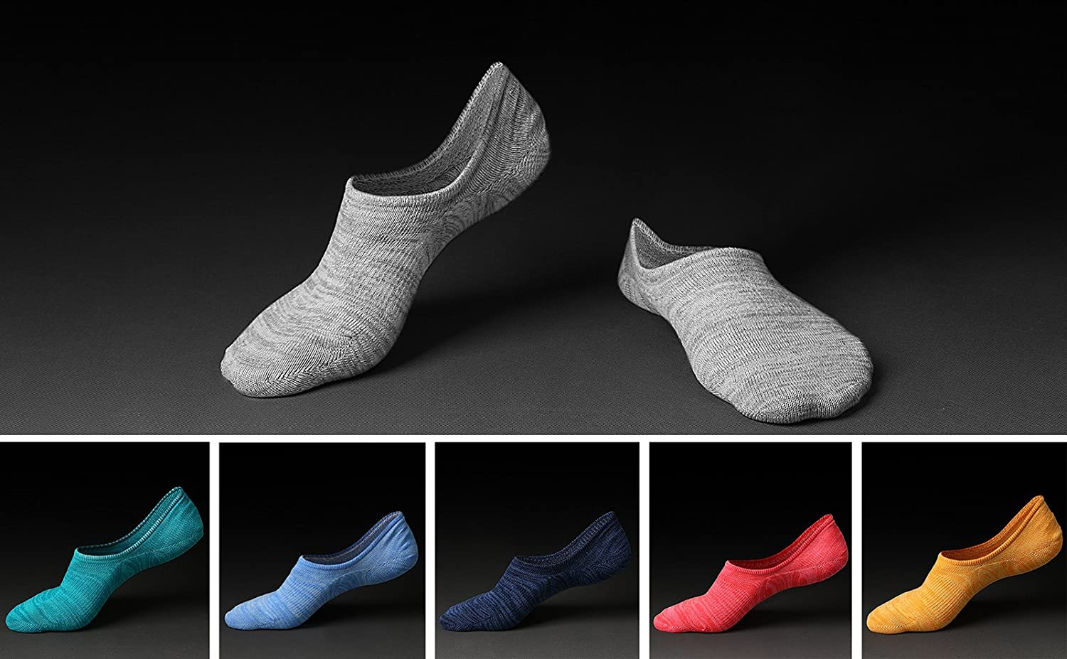 IDEGG No Show Socks Low Cut Cotton Casual Anti-slid Athletic Socks with Non Slip Grip for Men and Women