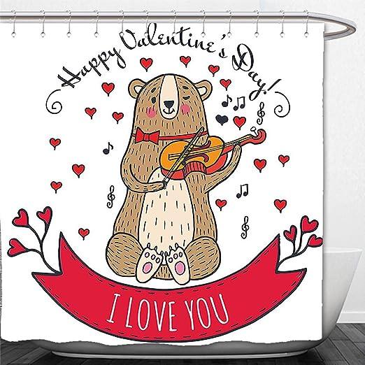 interestlee cortina de ducha (día de San Valentín romántico árbol ...