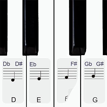 Pegatinas para piano/teclados, 49,61,76,88 juego completo de piano y teclado de notas musicales, pegatinas de plástico transparente tiene teclas ...
