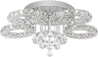 64W Kristall LED Deckenleuchte Pendelleuchte Flur Wandlampe Kaltweiß Hängelicht