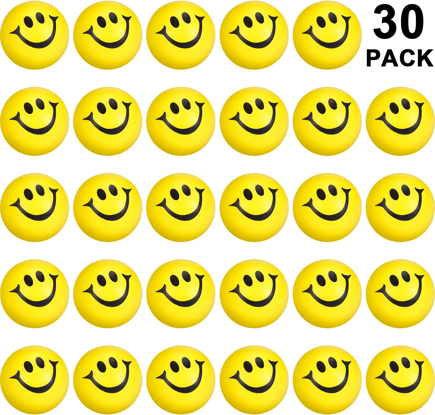 30 Packs Yellow Smile Funny Face Stress Balls, Mini Foam Balls, Happy Smile Stress Balls for School Carnival Reward, Party Bag Gift Fillers (30 Packs)