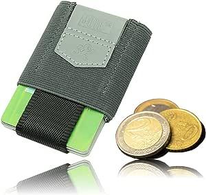 Premium Slim Wallet con cordón & Münzfach - el dehnbare Kartenetui & Mini Monedero de textil - tarjetas, billetes & monedas - pequeña monedero, Mini cartera, color Storm Gray M