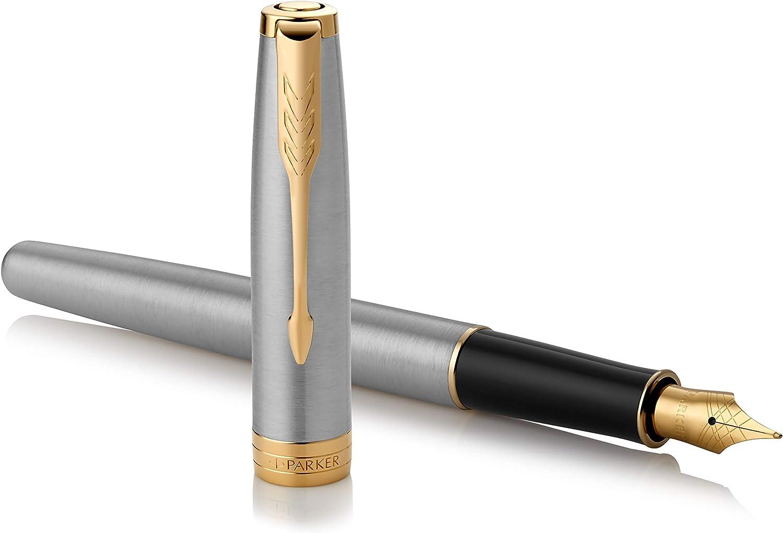 Parker Sonnet - Pluma estilográfica (acero inoxidable, con adorno dorado y plumín mediano, en estuche): Amazon.es: Oficina y papelería