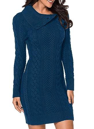 Aleumdr Mujer Vestido de Punto con Botón Suéter Cuello Redondo Jerséis Casual para Mujer Size SL
