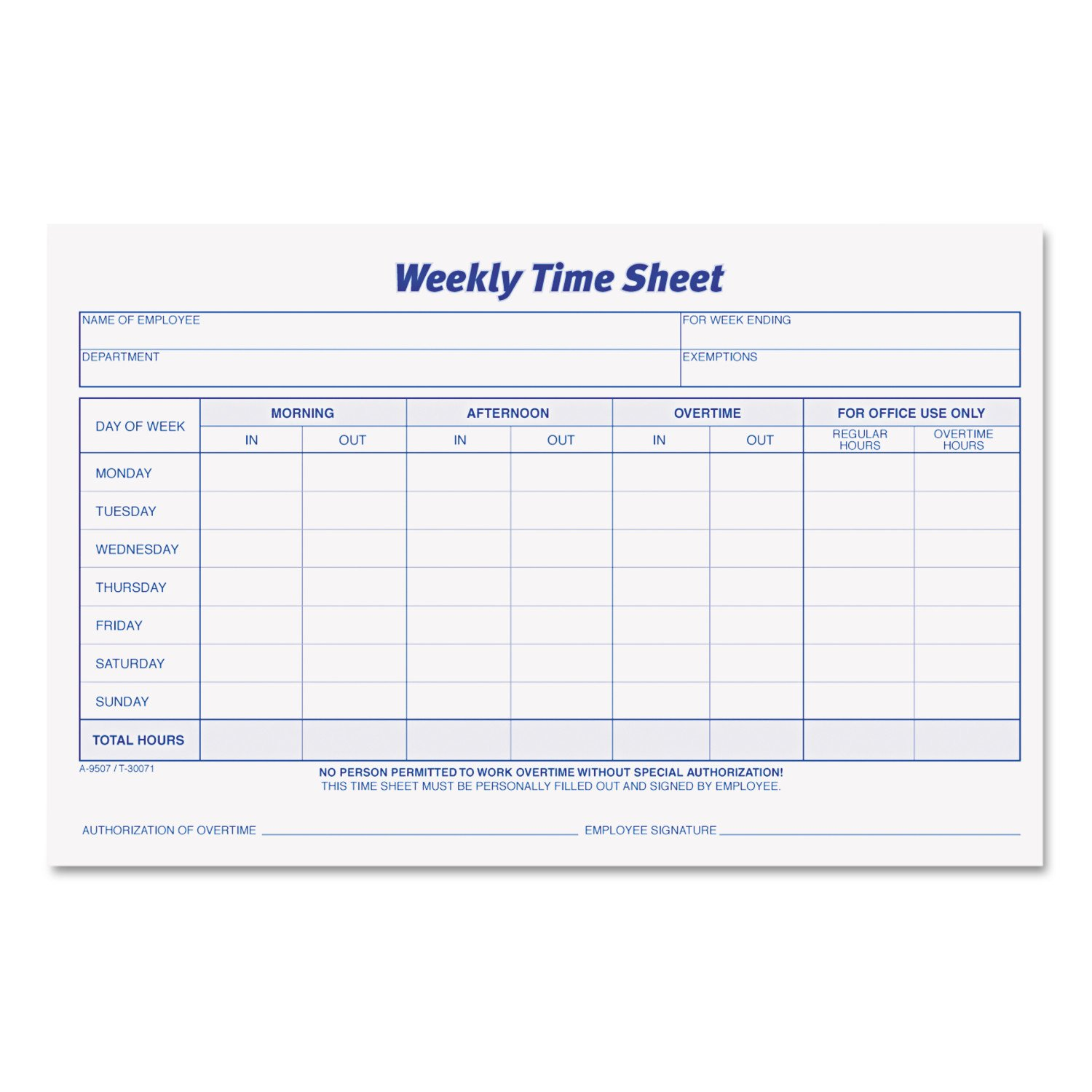 Amazon Tops Weekly Employee Time Sheet 85 X 55 Inches 100