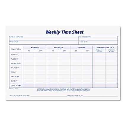 amazon com tops weekly employee time sheet 8 5 x 5 5 inches 100
