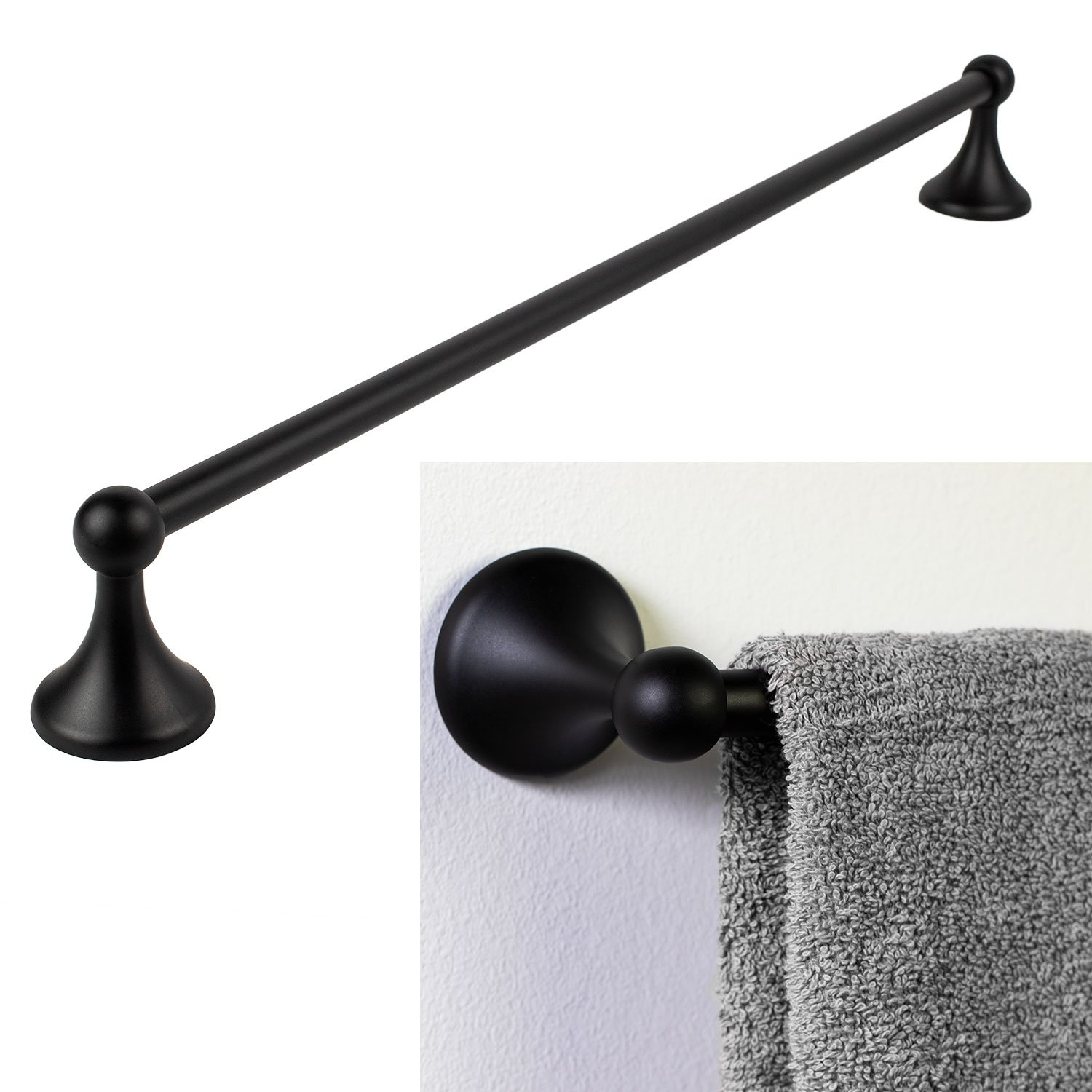 Bennington Lakefront 24'' Towel Bar Holder Rack Bath Accessory, Black