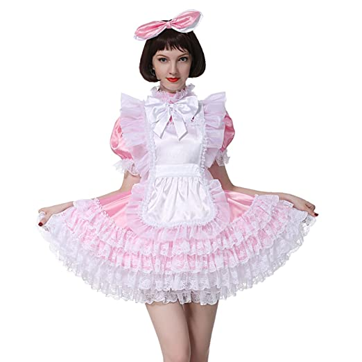 6d37b7703d1af Amazon.com: GOceBaby Sissy Girl Maid Large Bow Baby Pink Shiny Satin ...