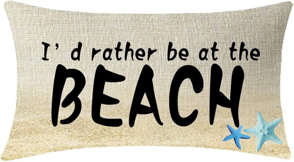 NIDITW Nice Gift with Funny Words Id Rather Be at The Beach Starfish Waist Lumbar Throw Pillow case Cushion Cover Pillowcase for Sofa Home Decorative Rectangle 12x20 Inches