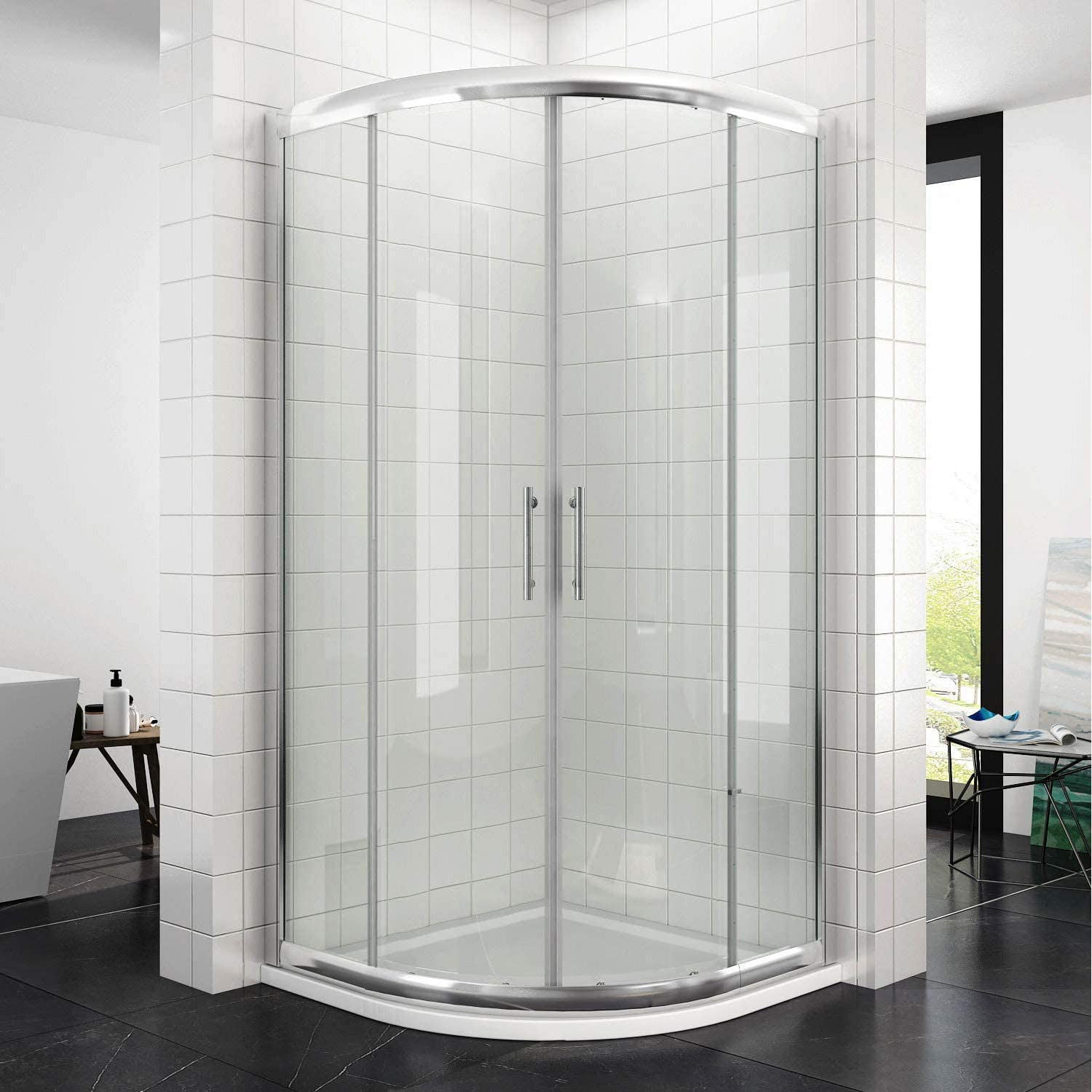 ELEGANT 900 x 900 mm Quadrant Shower Door 6mm Safety Glass Sliding Shower Enclosure with Stainless Steel Handle, Chrome