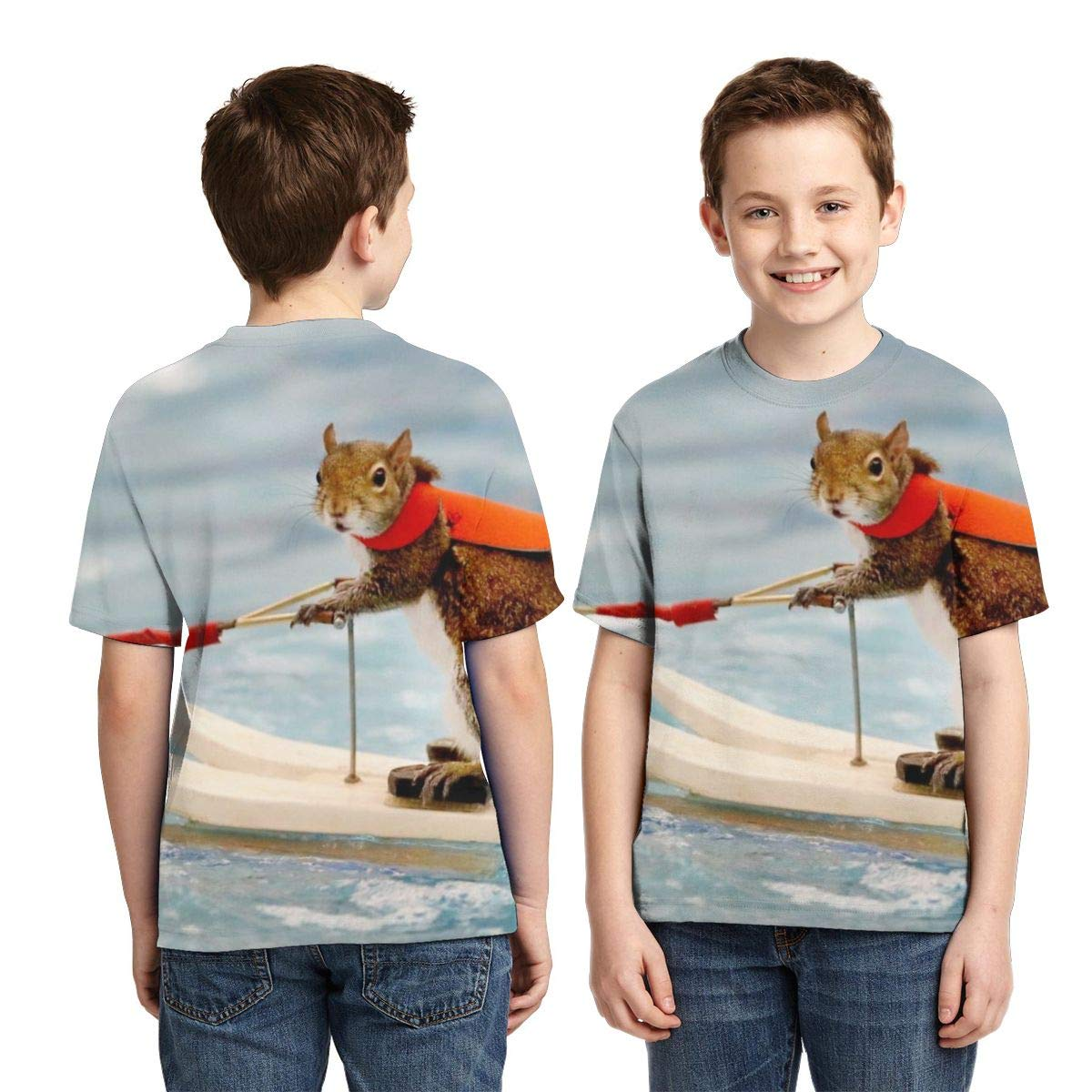 AMODECO Surf Squirrel 3D Printed Tee T-Shirt for Youth Teenager Boys Girls