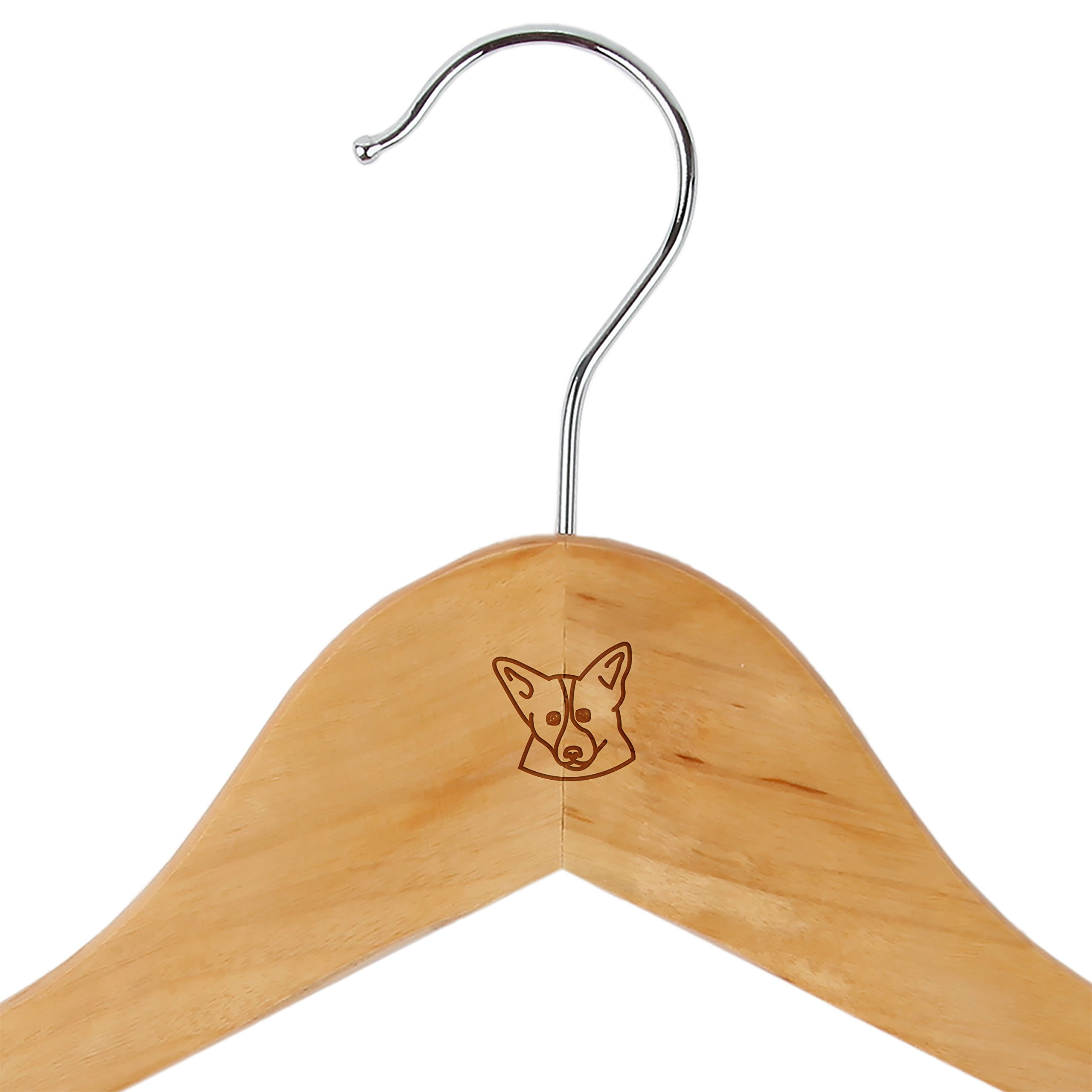 Corgi Maple Clothes Hangers - Wooden Suit Hanger - Laser Engraved Design - Wooden Hangers for Dresses, Wedding Gowns, Suits, and Other Special Garments by Modern Goods Co