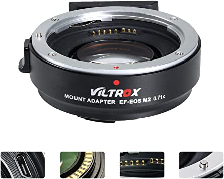 Amazon Com Viltrox Ef Eos M2 Lens Adapter 0 71x Speed Booster For Canon Ef Lens To Eos Ef M Mirrorless Camera M5 M6 M6 Ii M200 M50 Ii M10 M50 M100 Af Auto Focus