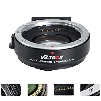 VILTROX EF-EOS M2 Lens Adapter 0 71x Speed Booster for Canon EF Lens to EOS  EF-M Mirrorless Camera M3 M5 M6 M10 M50 M100 AF Auto Focus Reducer
