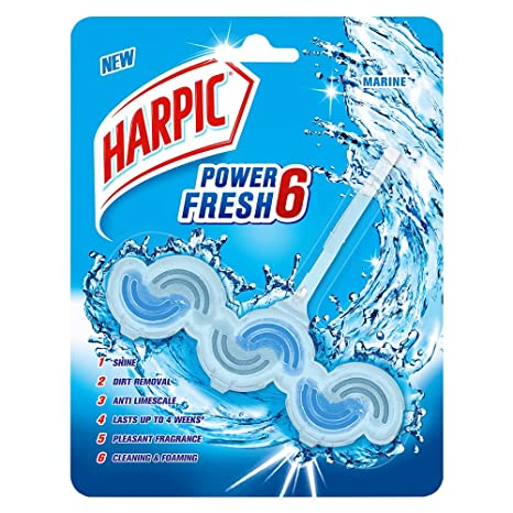 Harpic Power Fresh 6 Toilet Rim Block, Marine - 39 gm