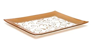 GAC Tempered Glass Tray Rectangular Glass Platter Unbreakable – Chip Resistant – Oven Safe – Microwave Safe – Dishwasher Safe – Stackable Decorative Plate and Glass Serving Tray Gold