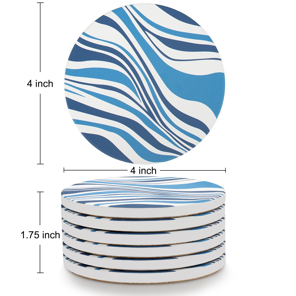MIWARE Absorbent Stone Coasters - 6 Packs Ceramic Coaster Set for Drinks, Simple Blue and White Stripes Style