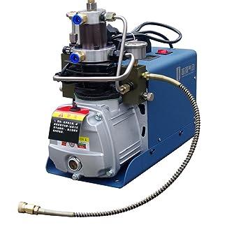Alta presión bomba de compresor de aire eléctrico 4500psi 110 V 300Bar 30 mpa 50L/min inflación botella PCP inflador neumático Airgun Rifle de Buceador, ...