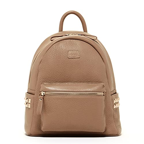 SUSU Cement studded Leather Backpack for Women With Studs Dark Beige Purse  for Women Side Pockets 4d5e29cf9e48e