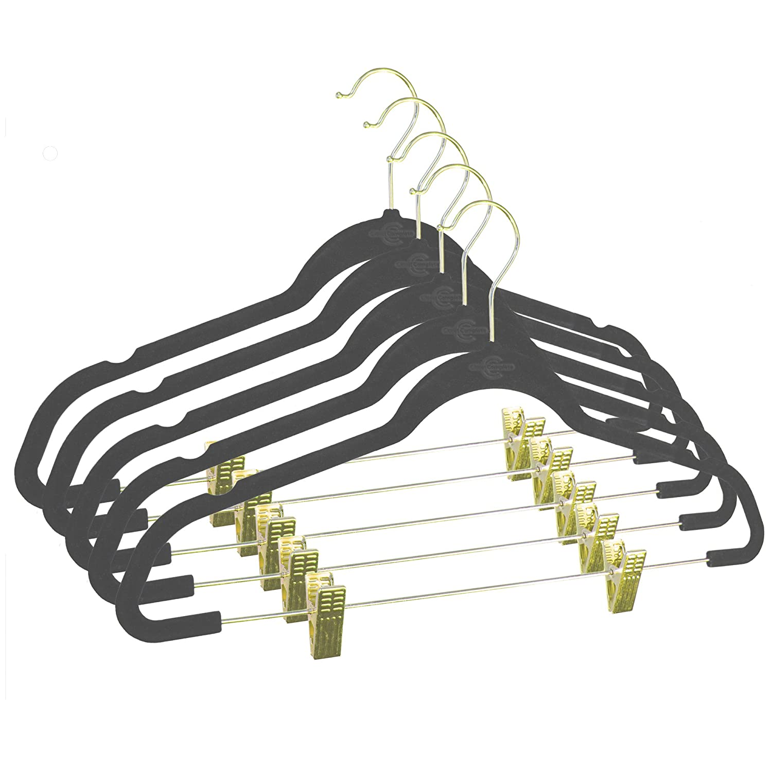 5 Pack Gold Hook Ivory Closet Complete Ultra-Thin No Slip Velvet Pants and Skirt Hangers with Clips