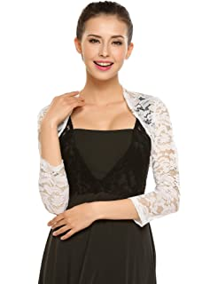 bc3ada56b64 Lace Bridal Bolero Wedding Shawl Gray at Amazon Women s Clothing store