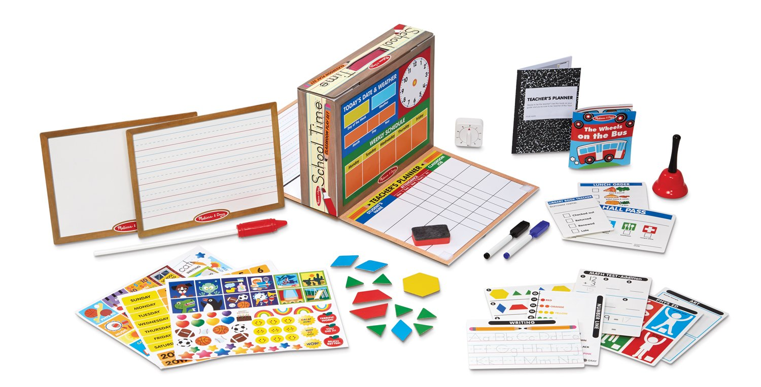 Melissa & Doug School Time! Classroom Play Set Game - Be Teacher or Student 8514