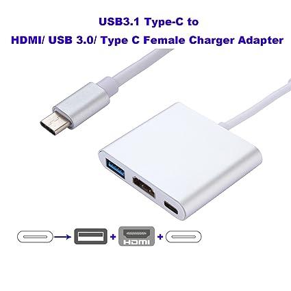 Hub USB C, USB 3.1 Tipo C a HDMI / USB 3.0 / Tipo C Adaptador de cargador para Apple Nuevo MacBook Laptop de 12 pulgadas, Google Chromebook Pixel y ...