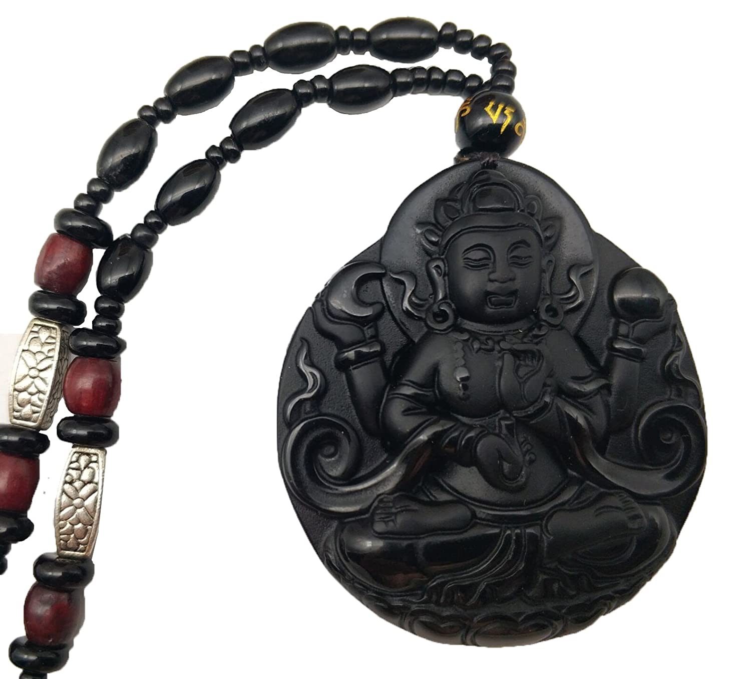 Pure Natural Obsidian Four Arm Guan Yin Kwan-yin Boddhisattva Necklace Pendant