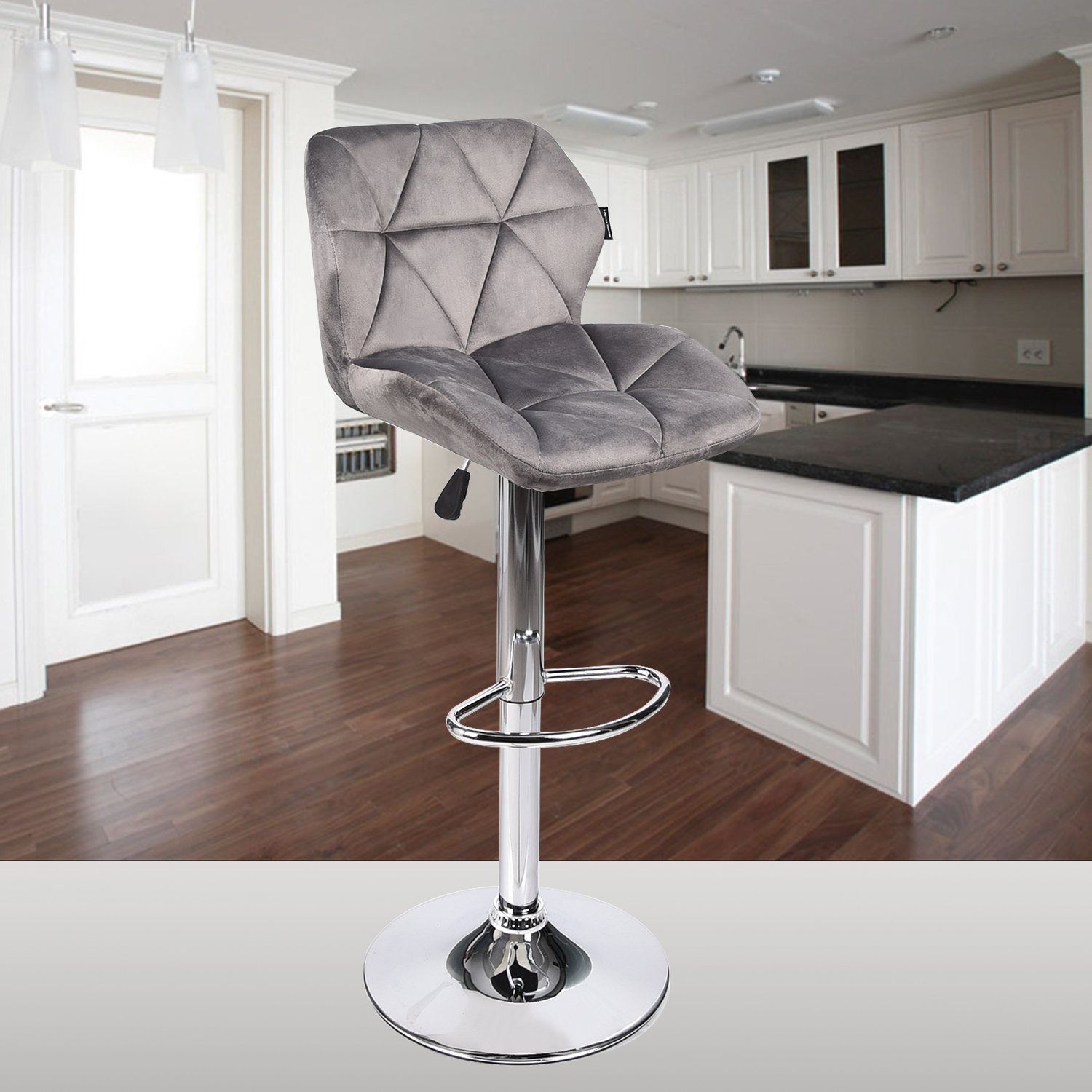 Elecwish Bar Stools Set of 2 White PU Leather Seat with Chrome Base Swivel Dining Chair Barstools Gray Flannel