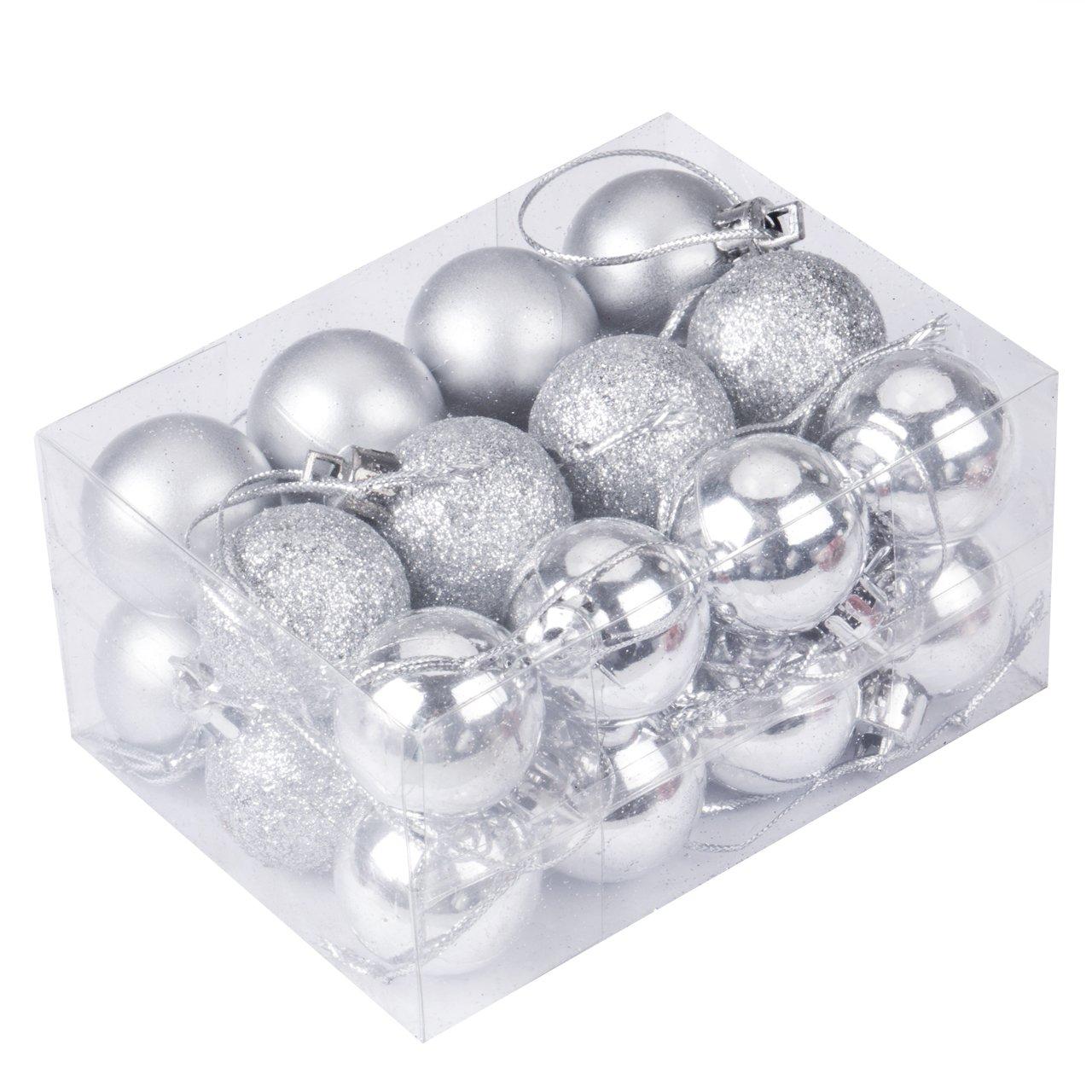 Amazon.com: 24pcs Christmas Balls Ornament Shatterproof Pendants For  Holiday Xmas Garden Decorations (White): Home U0026 Kitchen