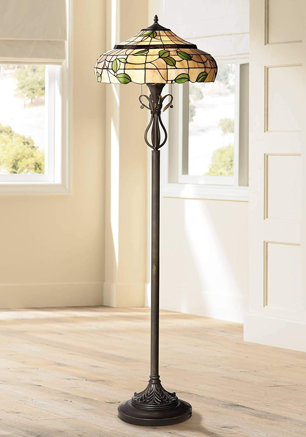Vivian Cottage Floor Lamp Bronze Green Leaf Pattern Stained Glass Shade for Living Room Reading Bedroom Office – Robert Louis Tiffany