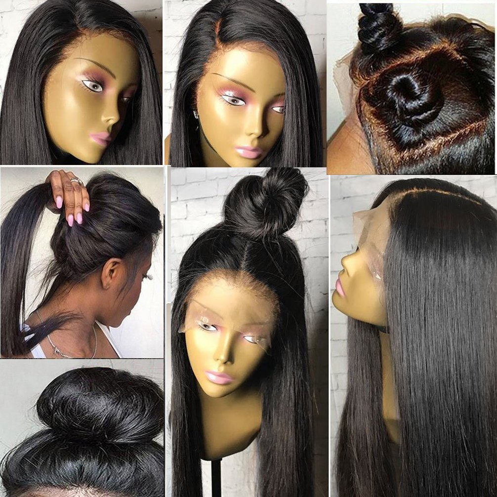 360 Lace Wig Pre Plucked 150% Density Hunman Hair Wigs Silky Straight Brazilian Virgin Hair 360 Lace Frontal Wig for High Ponytail Updo Any Part 360 Wig 18'' Human Hair Wigs