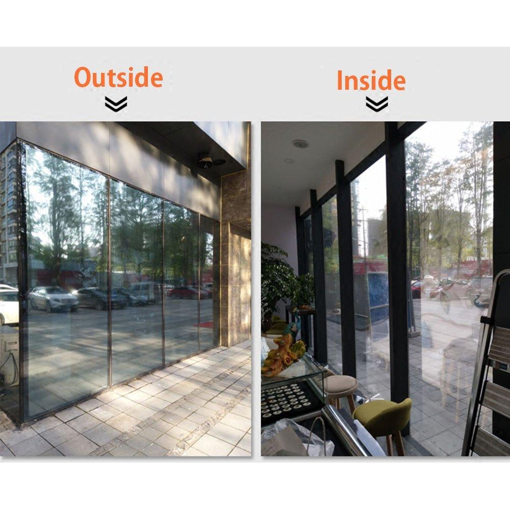 HOHOFILM 60'' x 33ft Roll One Way Window Glass Film Reflective Silver Mirror Glass Tint Daytime Privacy Sun Blocking Anti UV Self-Adhesive by HOHOFILM (Image #4)