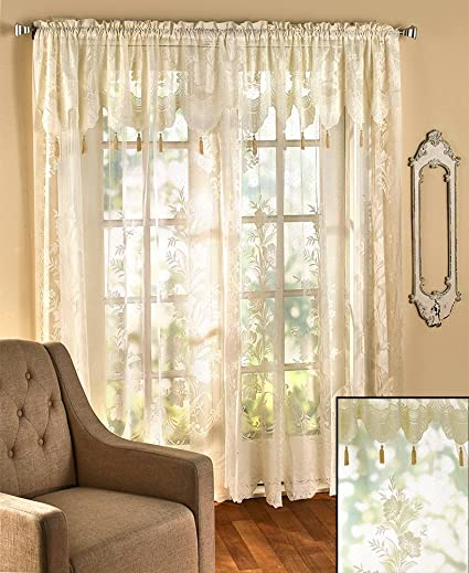 63 Inch Lace Curtains With Attached Valance Review Home