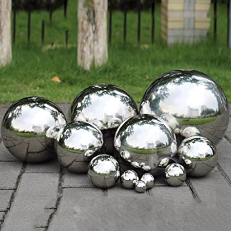 XGZ Hollow Ball 304 Stainless Steel Gazing Balls Mirror Polished Ball Sphere Hollow Ball Globes Floating Pond Balls Home Garden Ornament Decoration 15cm