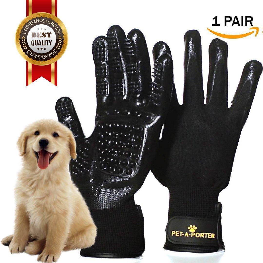 Pet-a-Porter #NEW VERSION# PET GROOMING GLOVES - De-Shedding Brush - Two Hands On your Cat, Dog, Horse - Long & Short Fur - Soft Massage - Bathing