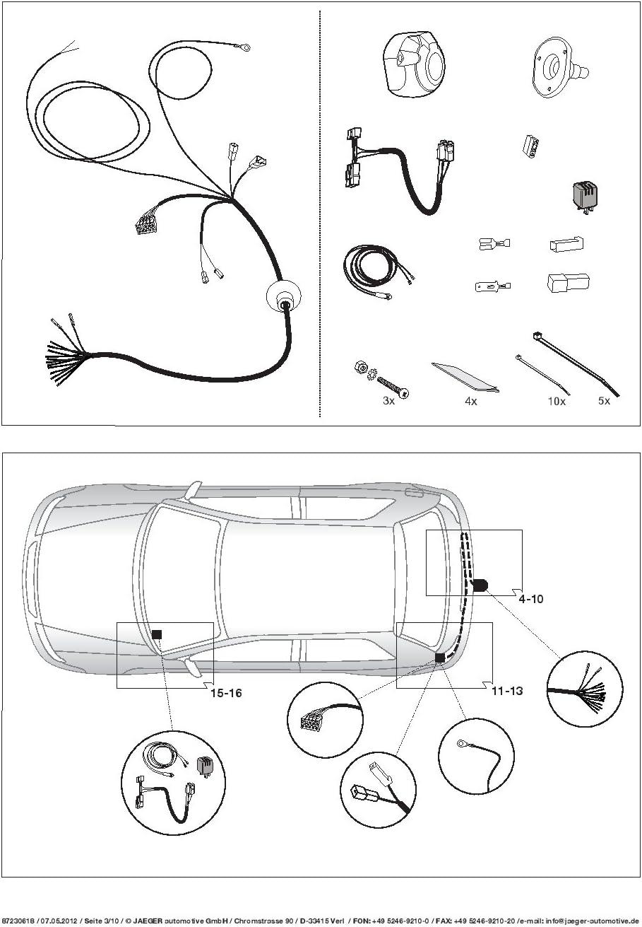 Jaeger 13 poliger spezifischer Elektrosatz f/ür Subaru XV 2012-2017 21230518ZM2