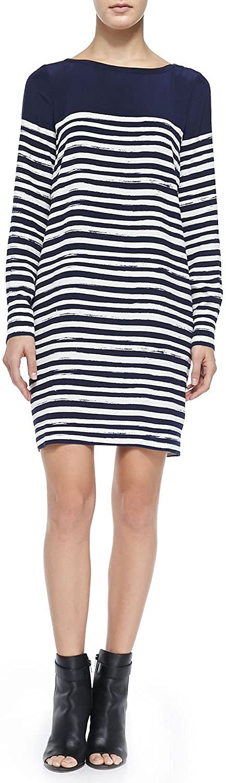 Vince Womens Marker Stripe Long Sleeve Dress