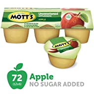 Mott's Unsweetened Applesauce, 3.9 Ounce Cup, 6 Count (Pack of 12)