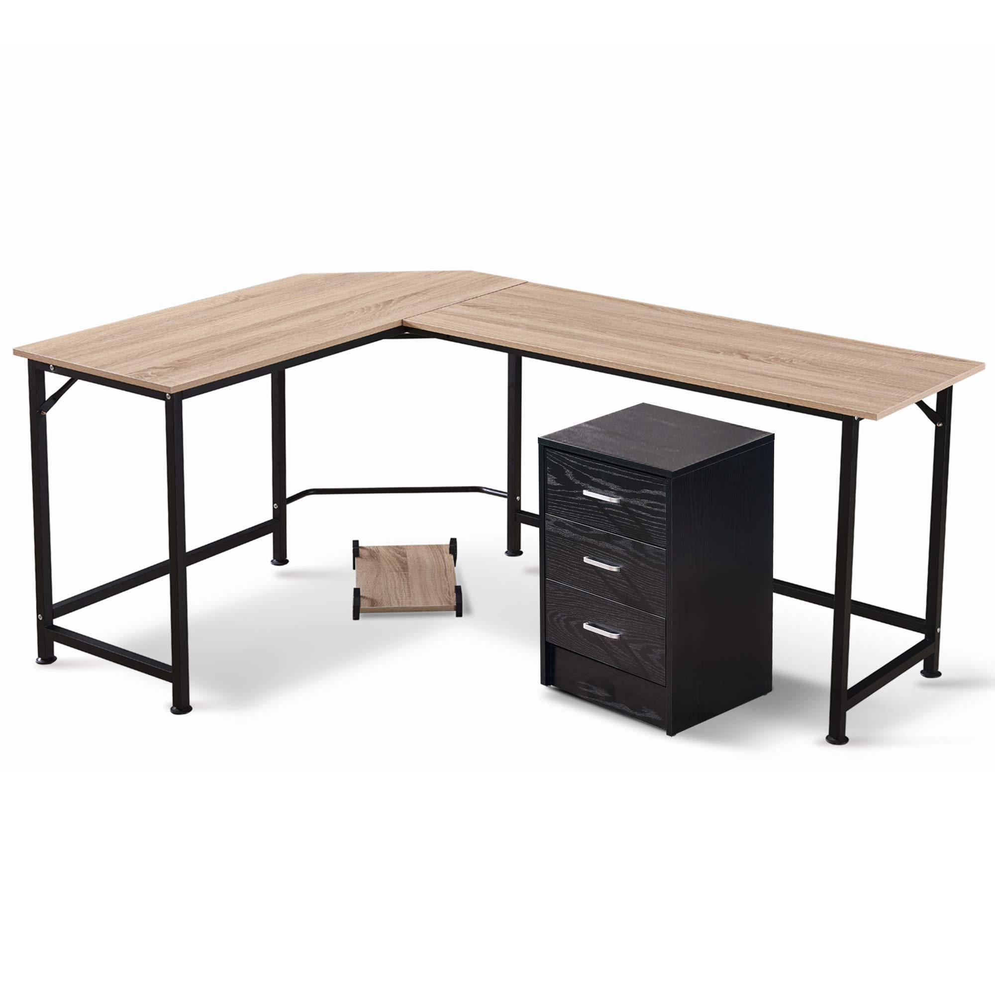 MCombo Corner Desk L-Shaped Desk with File Drawer Home Office Set Office Desk (White Desk, Black File Drawer)