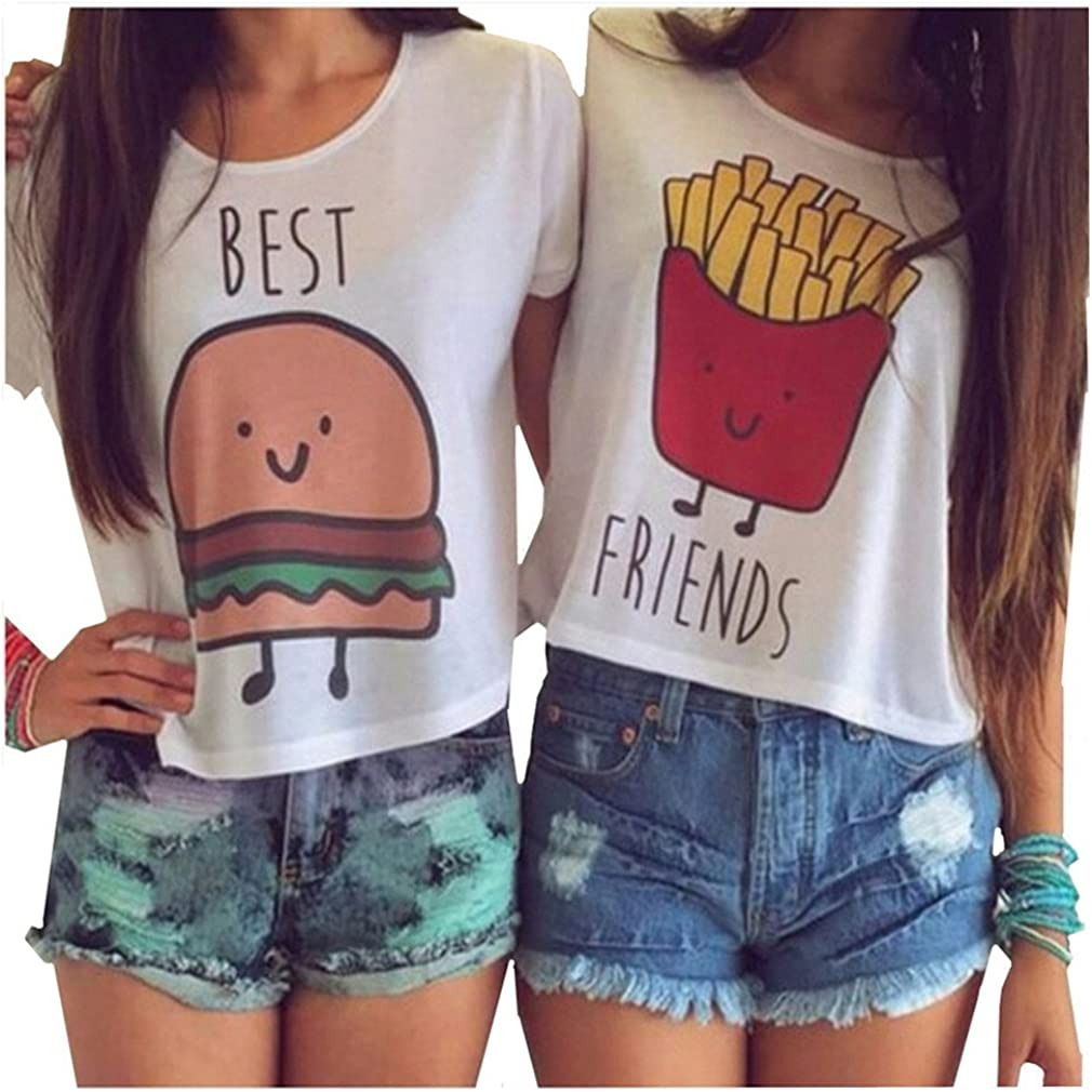 MOLFROA 2-Pack Women's Casual Cute Cartoon Best Friend Printed Crop Tops Funny Tops Tees