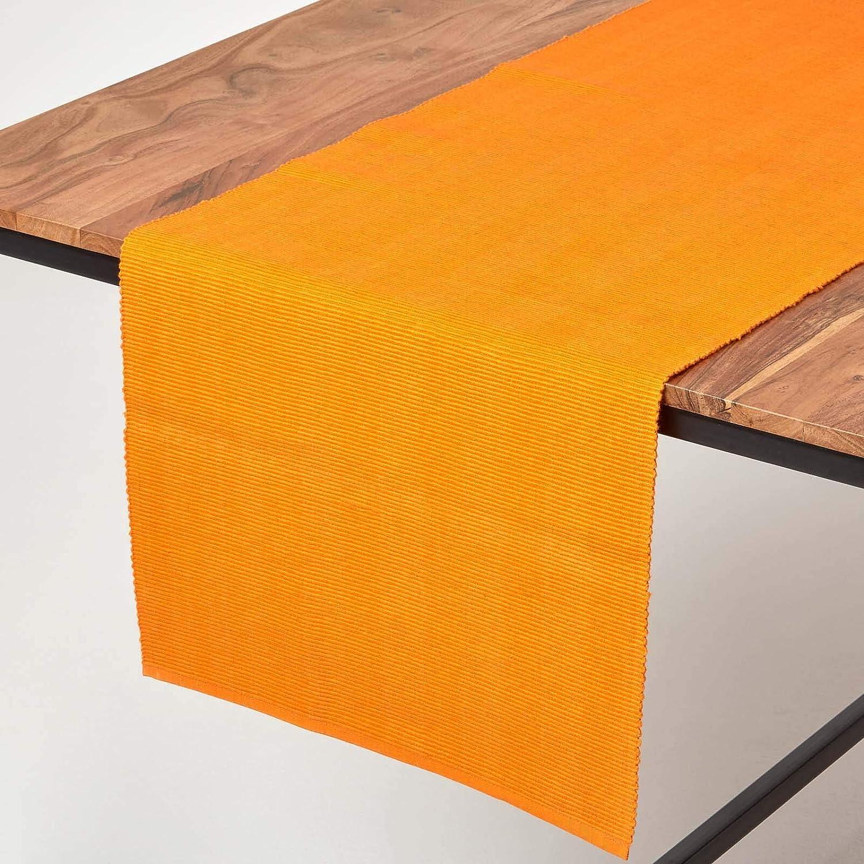 Homescapes camino de mesa, de algodón con estilo de cordoncillo ...