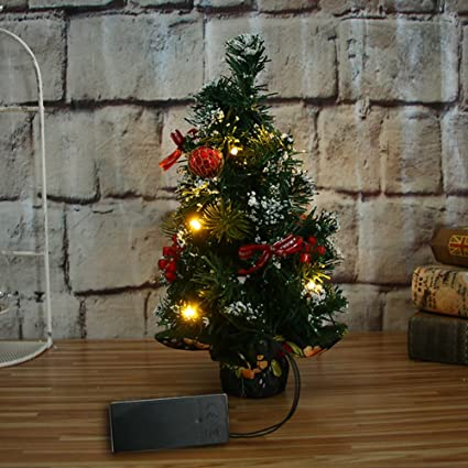 mini desktop artifical christmas tree with led lights snowflake ball ornaments for table decoration red